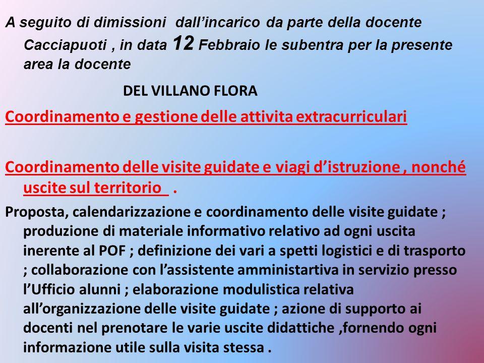 A seguito di dimissioni dall'incarico da parte della docente Cacciapuoti, in data 12 Febbraio le subentra per la presente area la docente DEL VILLANO