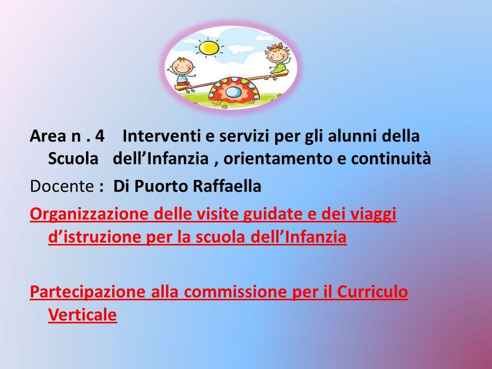 Area n. 4 Interventi e servizi per gli alunni della Scuola dell'Infanzia, orientamento e continuità Docente : Di Puorto Raffaella Organizzazione delle