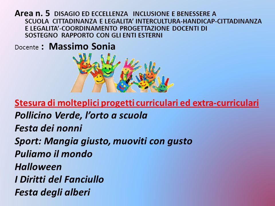 Area n. 5 DISAGIO ED ECCELLENZA INCLUSIONE E BENESSERE A SCUOLA CITTADINANZA E LEGALITA' INTERCULTURA-HANDICAP-CITTADINANZA E LEGALITA'-COORDINAMENTO