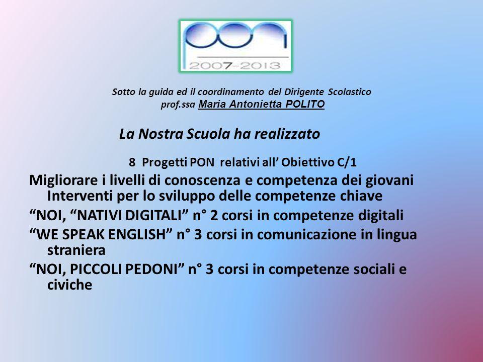Sotto la guida ed il coordinamento del Dirigente Scolastico prof.ssa Maria Antonietta POLITO La Nostra Scuola ha realizzato 8 Progetti PON relativi al