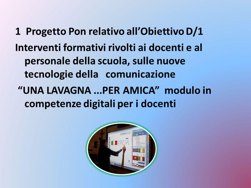 1 Progetto Pon relativo all'Obiettivo D/1 Interventi formativi rivolti ai docenti e al personale della scuola, sulle nuove tecnologie della comunicazi