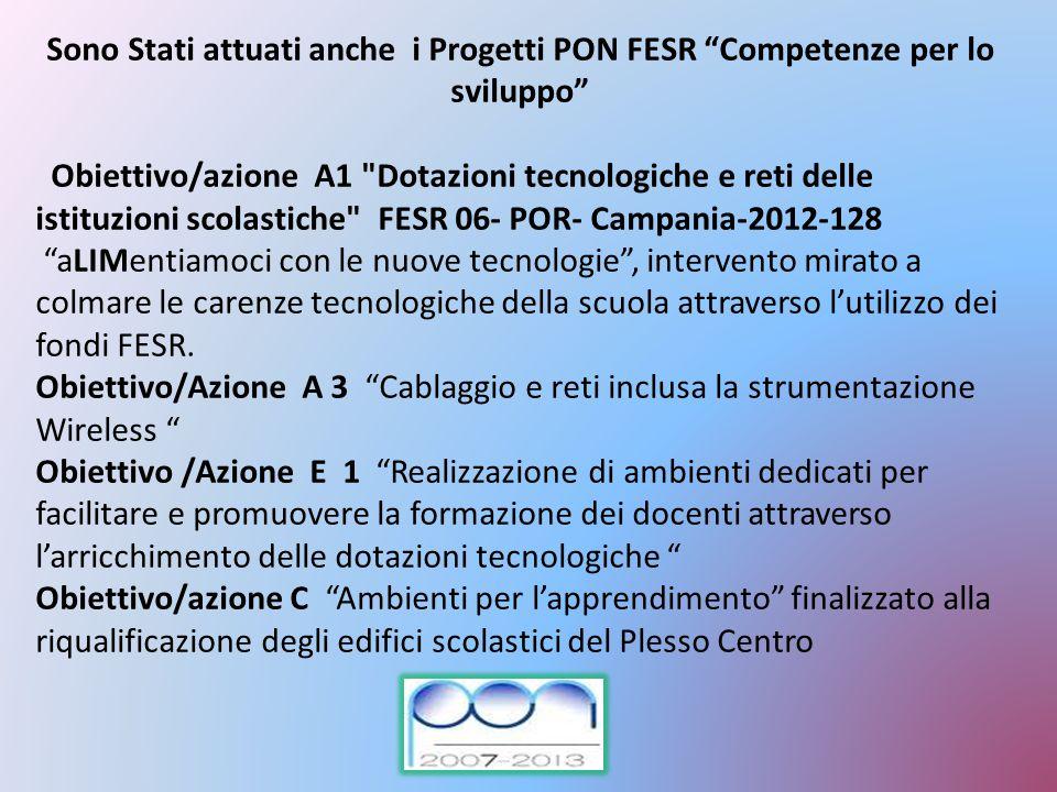 """Sono Stati attuati anche i Progetti PON FESR """"Competenze per lo sviluppo"""" Obiettivo/azione A1"""