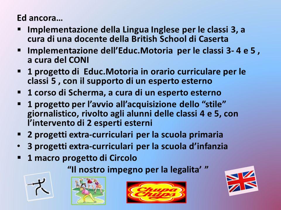 Ed ancora…  Implementazione della Lingua Inglese per le classi 3, a cura di una docente della British School di Caserta  Implementazione dell'Educ.M