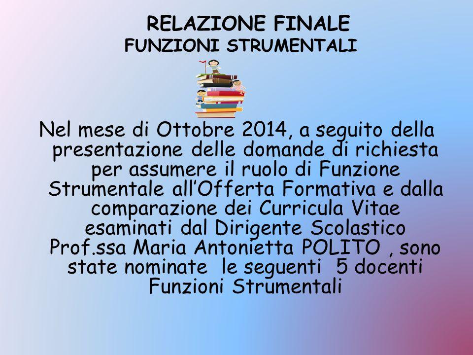 RELAZIONE FINALE FUNZIONI STRUMENTALI Nel mese di Ottobre 2014, a seguito della presentazione delle domande di richiesta per assumere il ruolo di Funz