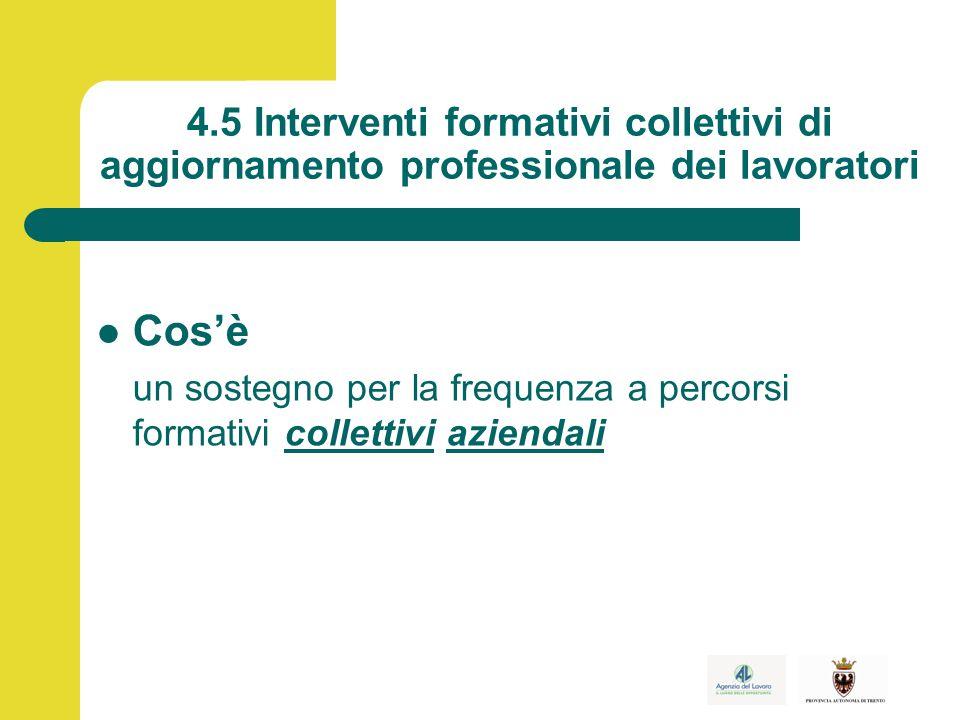 4.5 Interventi formativi collettivi di aggiornamento professionale dei lavoratori Cos'è un sostegno per la frequenza a percorsi formativi collettivi aziendali