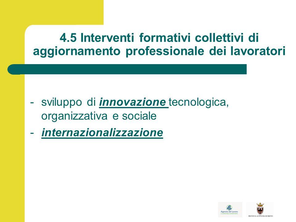 4.5 Interventi formativi collettivi di aggiornamento professionale dei lavoratori -sviluppo di innovazione tecnologica, organizzativa e sociale -internazionalizzazione