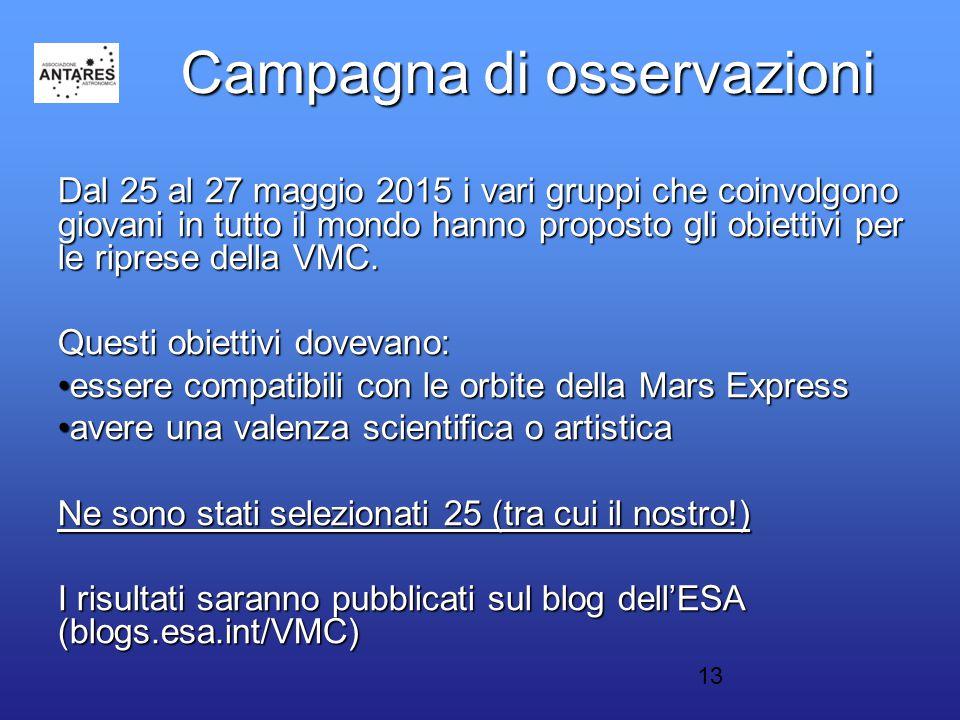 13 Campagna di osservazioni Dal 25 al 27 maggio 2015 i vari gruppi che coinvolgono giovani in tutto il mondo hanno proposto gli obiettivi per le riprese della VMC.