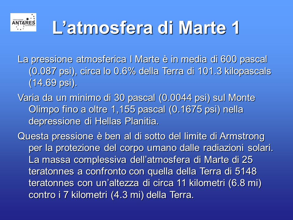 L'atmosfera di Marte 1 La pressione atmosferica I Marte è in media di 600 pascal (0.087 psi), circa lo 0.6% della Terra di 101.3 kilopascals (14.69 ps