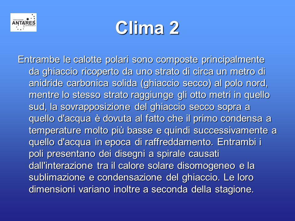 Clima 2 Entrambe le calotte polari sono composte principalmente da ghiaccio ricoperto da uno strato di circa un metro di anidride carbonica solida (gh