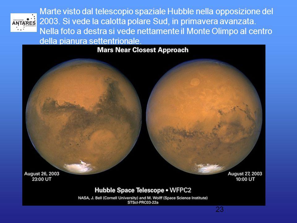 23 Marte visto dal telescopio spaziale Hubble nella opposizione del 2003. Si vede la calotta polare Sud, in primavera avanzata. Nella foto a destra si