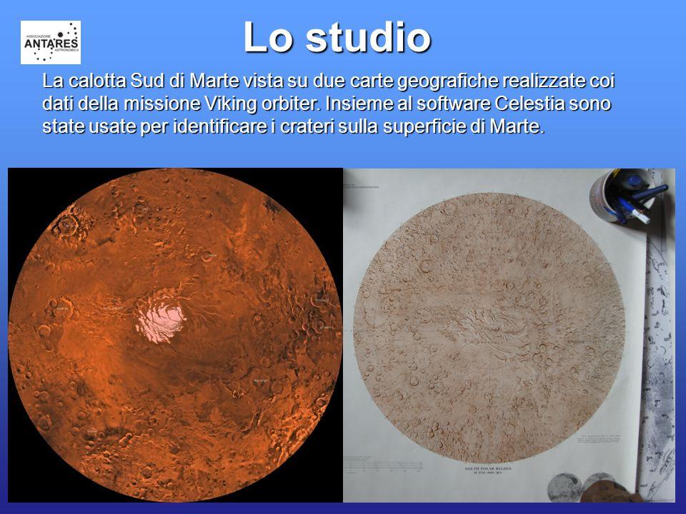 25 Lo studio La calotta Sud di Marte vista su due carte geografiche realizzate coi dati della missione Viking orbiter.
