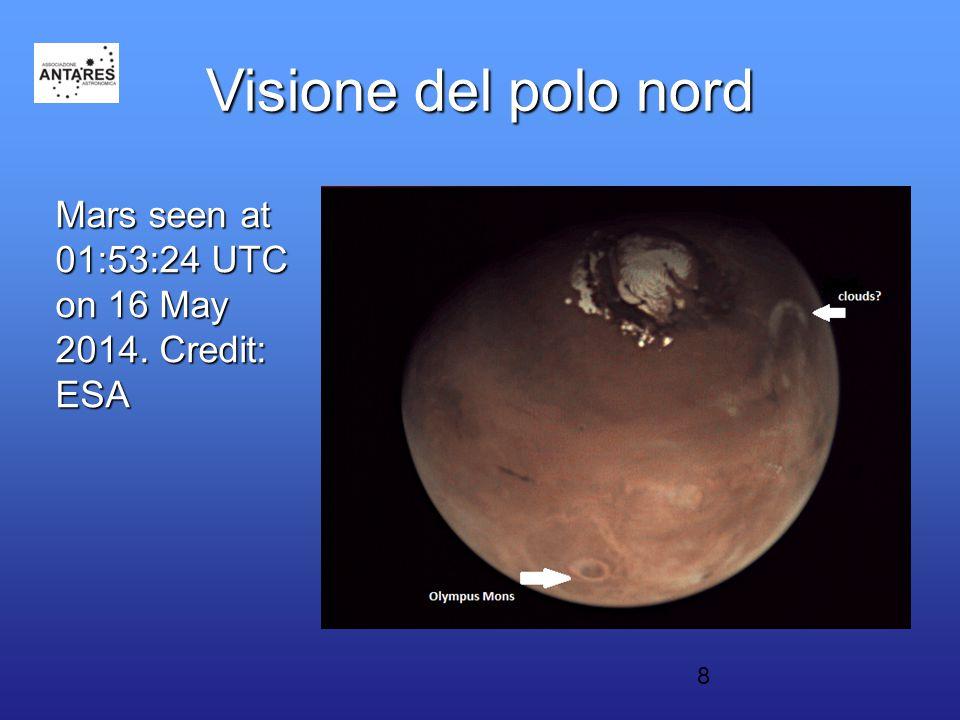 8 Visione del polo nord Mars seen at 01:53:24 UTC on 16 May 2014. Credit: ESA