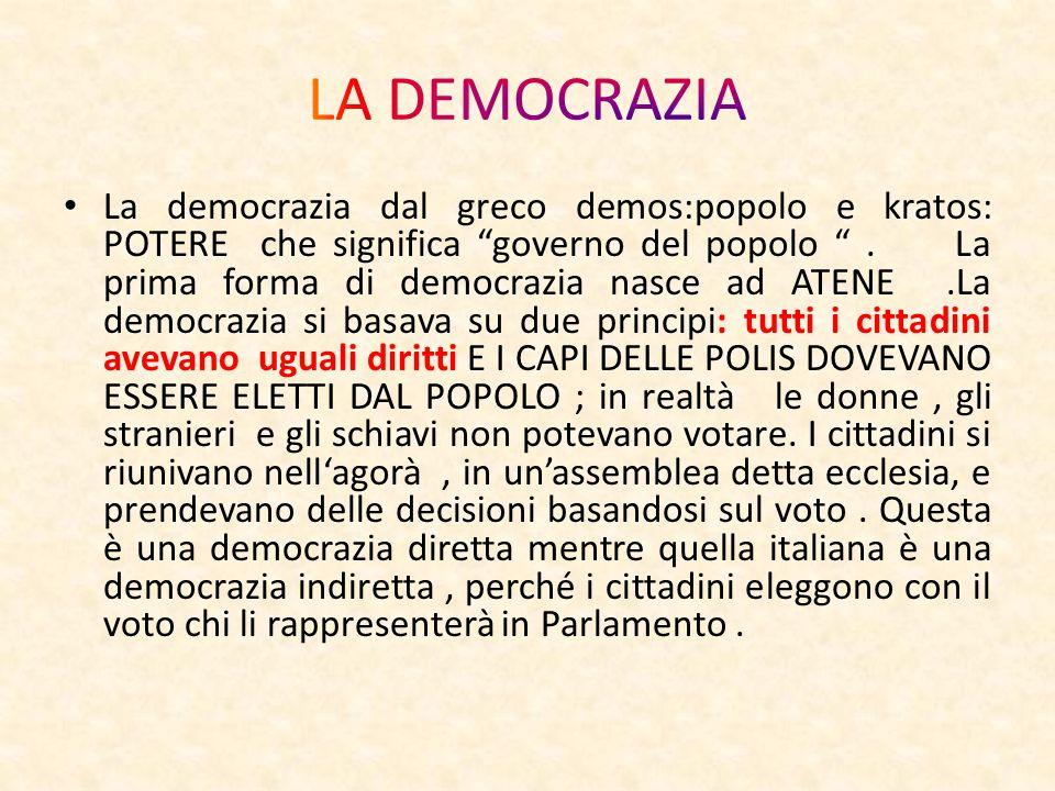 La democrazia dal greco demos:popolo e kratos: POTERE che significa governo del popolo .