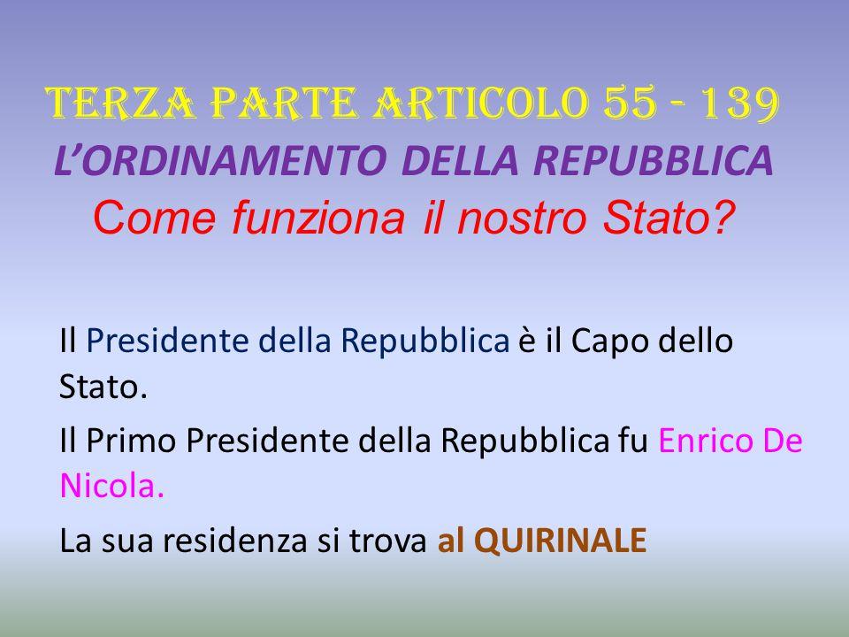 TERZA PARTE ARTICOLO 55 - 139 L'ORDINAMENTO DELLA REPUBBLICA Come funziona il nostro Stato.