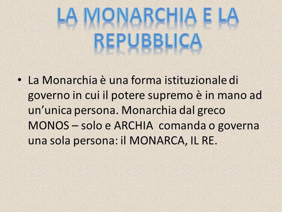 La Monarchia è una forma istituzionale di governo in cui il potere supremo è in mano ad un'unica persona.