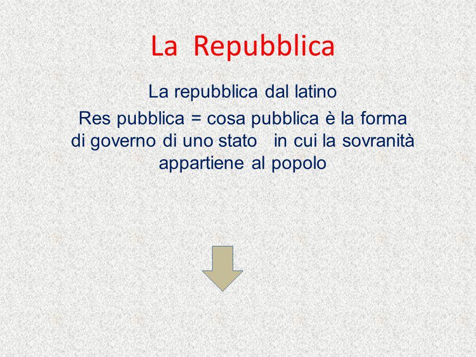 La Repubblica La repubblica dal latino Res pubblica = cosa pubblica è la forma di governo di uno stato in cui la sovranità appartiene al popolo