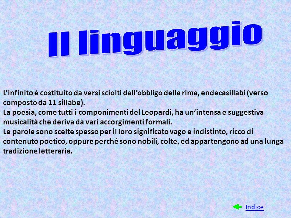 L'infinito è costituito da versi sciolti dall'obbligo della rima, endecasillabi (verso composto da 11 sillabe). La poesia, come tutti i componimenti d