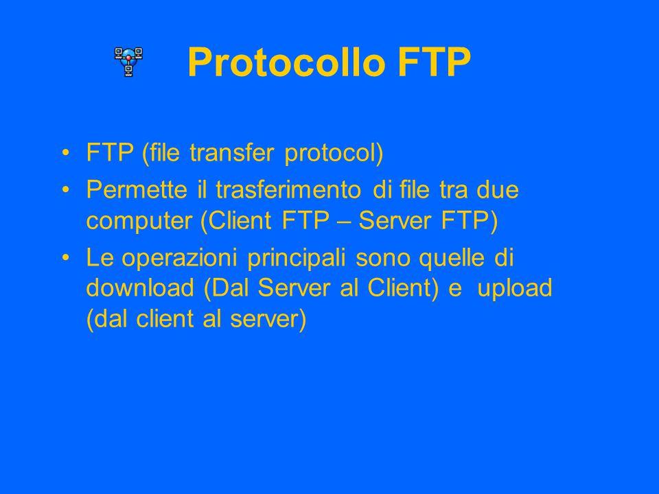 Protocollo FTP FTP (file transfer protocol) Permette il trasferimento di file tra due computer (Client FTP – Server FTP) Le operazioni principali sono quelle di download (Dal Server al Client) e upload (dal client al server)