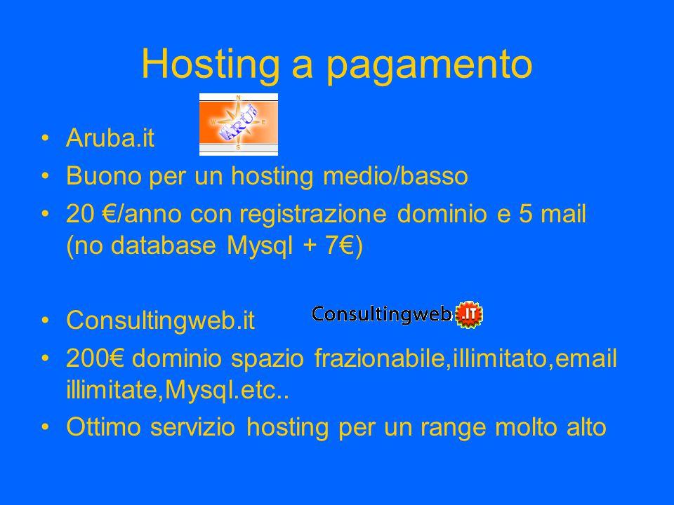 Hosting a pagamento Aruba.it Buono per un hosting medio/basso 20 €/anno con registrazione dominio e 5 mail (no database Mysql + 7€) Consultingweb.it 2