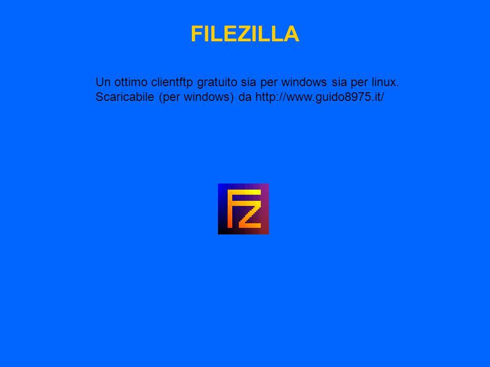 FILEZILLA Un ottimo clientftp gratuito sia per windows sia per linux. Scaricabile (per windows) da http://www.guido8975.it/