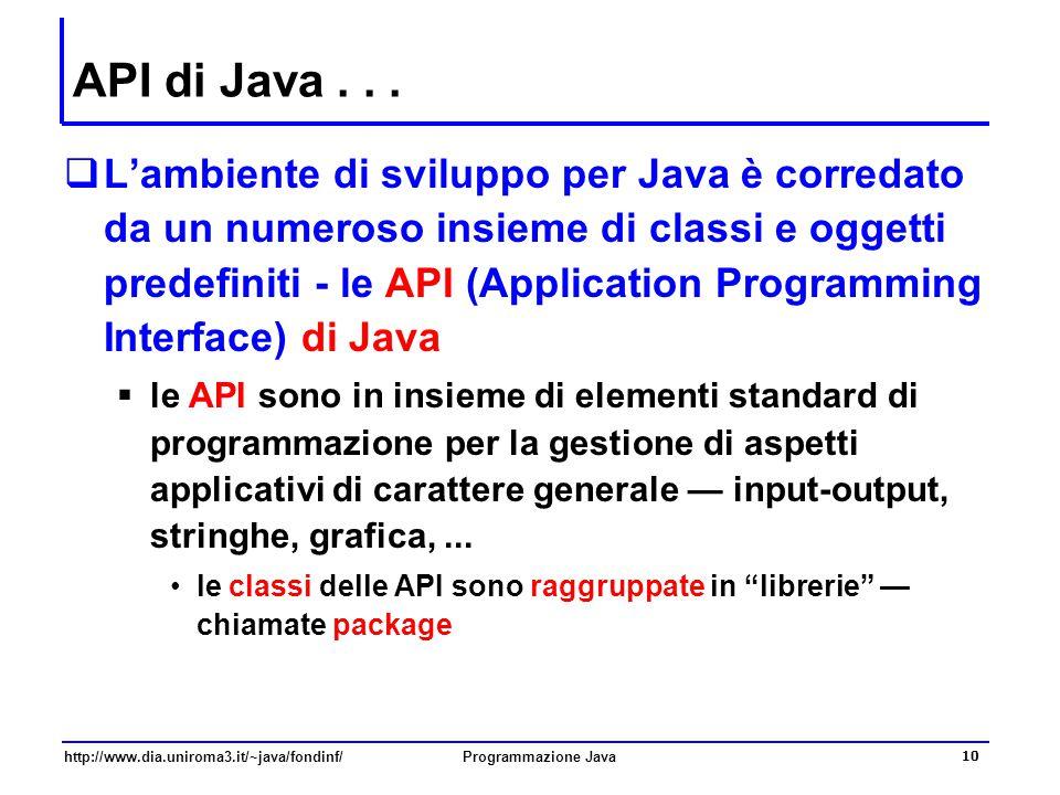 http://www.dia.uniroma3.it/~java/fondinf/Programmazione Java 10 API di Java...  L'ambiente di sviluppo per Java è corredato da un numeroso insieme di