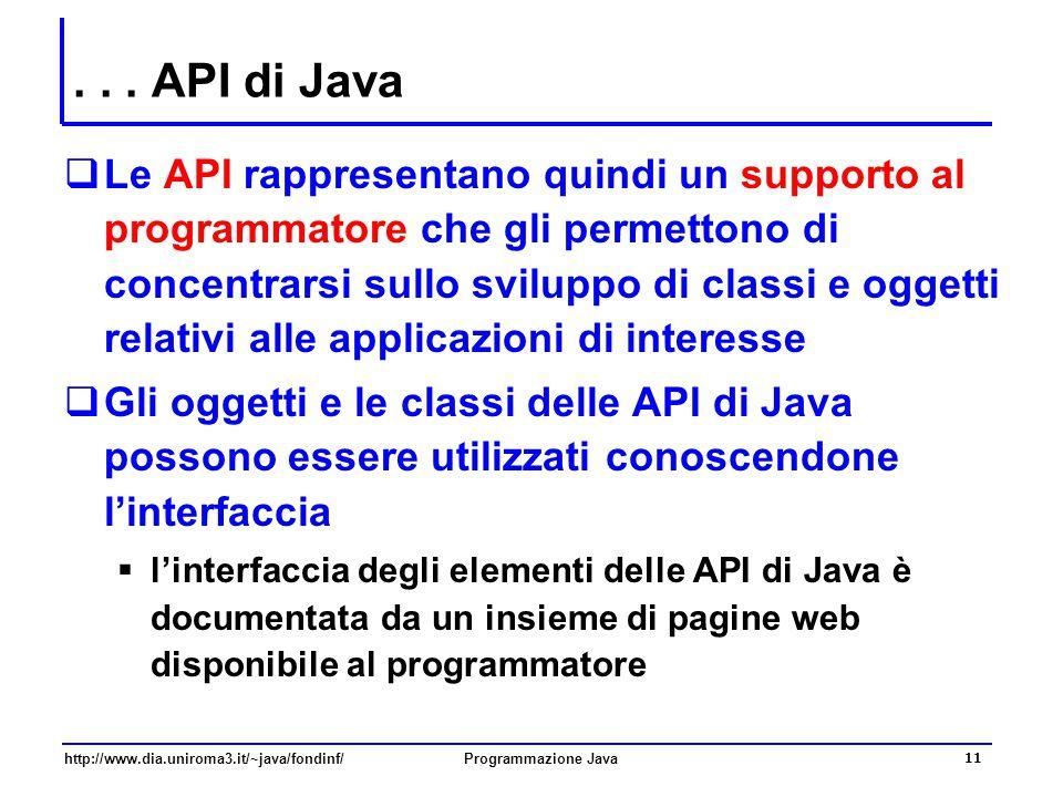 http://www.dia.uniroma3.it/~java/fondinf/Programmazione Java 11... API di Java  Le API rappresentano quindi un supporto al programmatore che gli perm