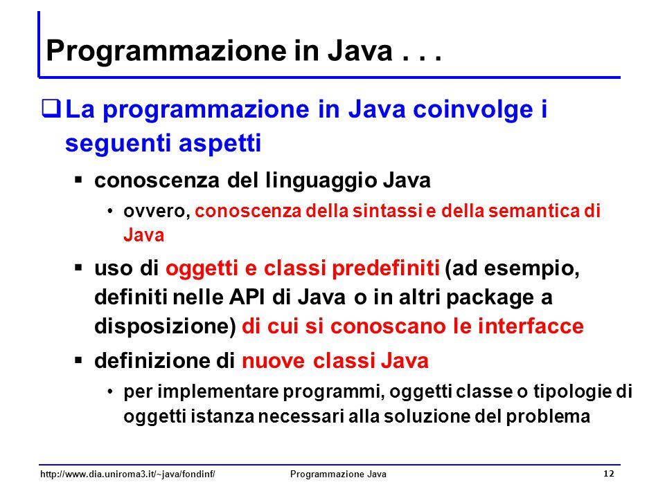http://www.dia.uniroma3.it/~java/fondinf/Programmazione Java 12 Programmazione in Java...  La programmazione in Java coinvolge i seguenti aspetti  c