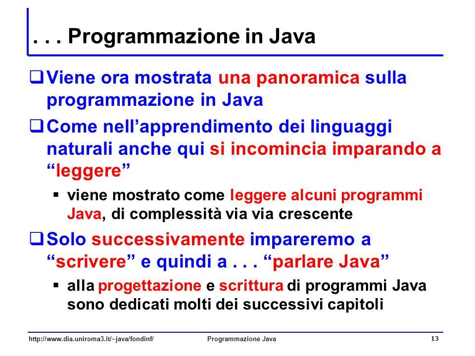 http://www.dia.uniroma3.it/~java/fondinf/Programmazione Java 13... Programmazione in Java  Viene ora mostrata una panoramica sulla programmazione in
