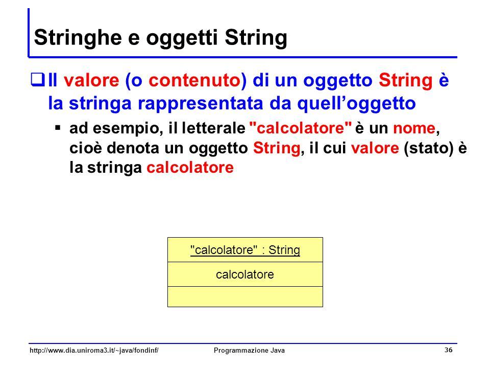 http://www.dia.uniroma3.it/~java/fondinf/Programmazione Java 36 Stringhe e oggetti String  Il valore (o contenuto) di un oggetto String è la stringa rappresentata da quell'oggetto  ad esempio, il letterale calcolatore è un nome, cioè denota un oggetto String, il cui valore (stato) è la stringa calcolatore calcolatore : String calcolatore