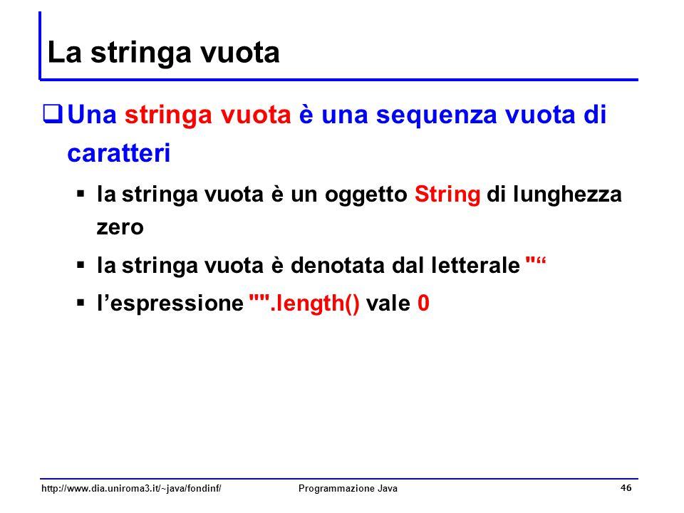 http://www.dia.uniroma3.it/~java/fondinf/Programmazione Java 46 La stringa vuota  Una stringa vuota è una sequenza vuota di caratteri  la stringa vuota è un oggetto String di lunghezza zero  la stringa vuota è denotata dal letterale  l'espressione .length() vale 0