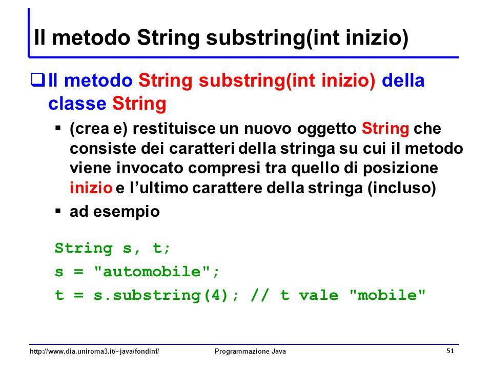 http://www.dia.uniroma3.it/~java/fondinf/Programmazione Java 51 Il metodo String substring(int inizio)  Il metodo String substring(int inizio) della