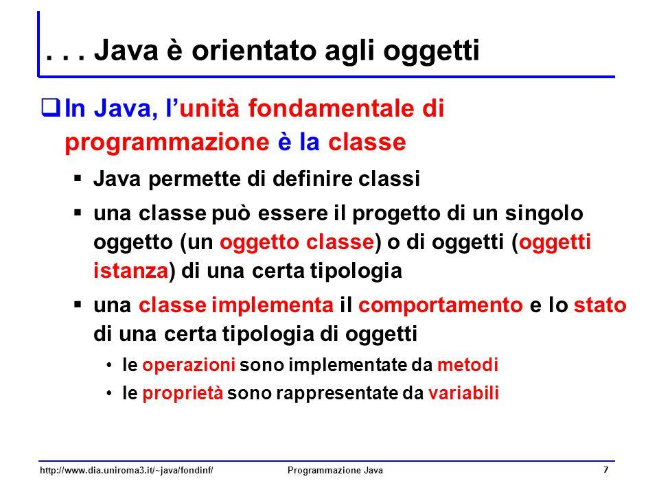 http://www.dia.uniroma3.it/~java/fondinf/Programmazione Java 7... Java è orientato agli oggetti  In Java, l'unità fondamentale di programmazione è la