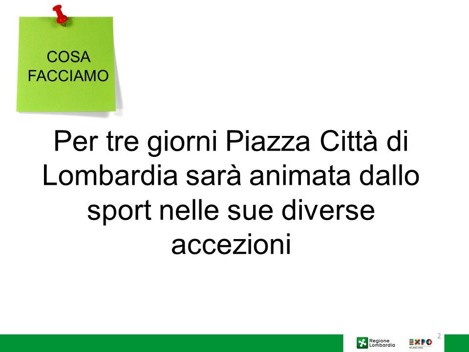 2 Per tre giorni Piazza Città di Lombardia sarà animata dallo sport nelle sue diverse accezioni COSA FACCIAMO