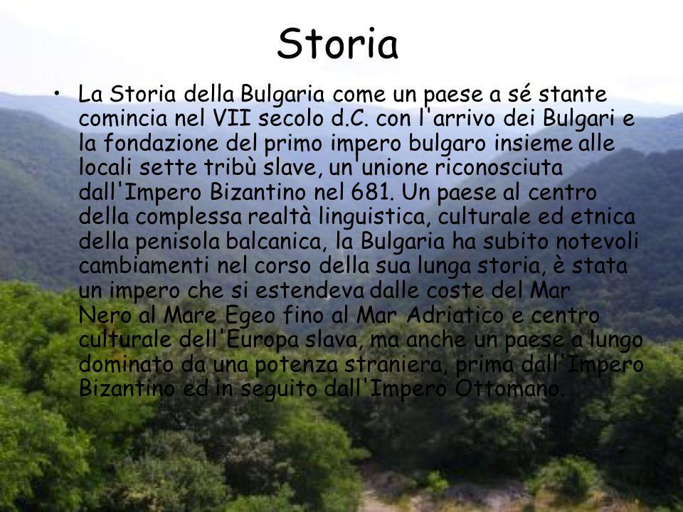Storia La Storia della Bulgaria come un paese a sé stante comincia nel VII secolo d.C. con l'arrivo dei Bulgari e la fondazione del primo impero bulga