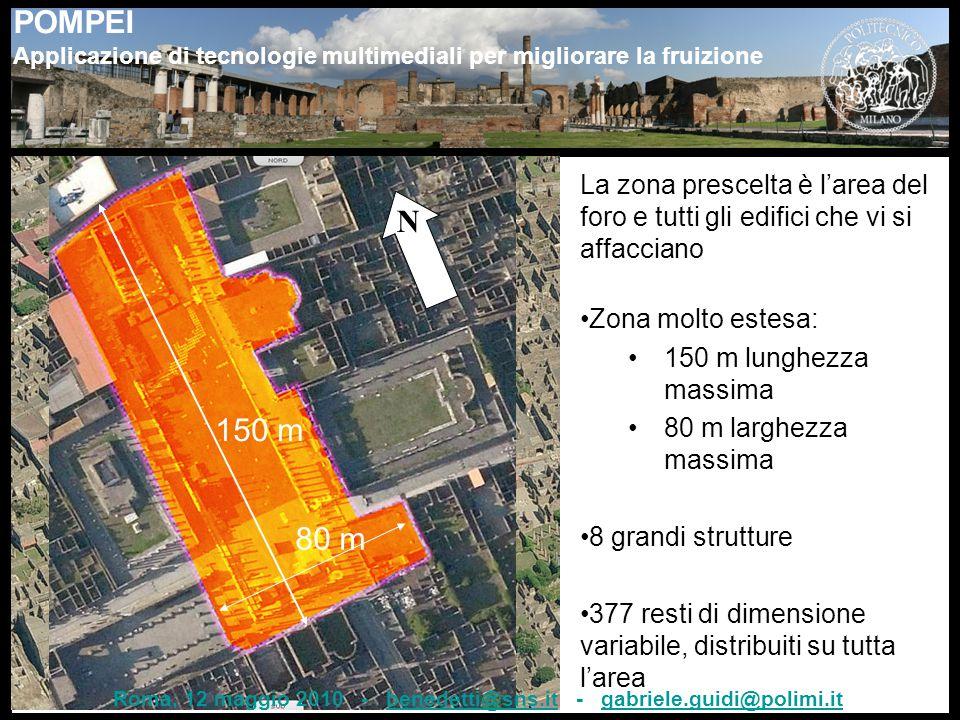 POMPEI Applicazione di tecnologie multimediali per migliorare la fruizione N 150 m 80 m La zona prescelta è l'area del foro e tutti gli edifici che vi si affacciano Zona molto estesa: 150 m lunghezza massima 80 m larghezza massima 8 grandi strutture 377 resti di dimensione variabile, distribuiti su tutta l'area Roma, 12 maggio 2010 - benedetti@sns.it - gabriele.guidi@polimi.itbenedetti@sns.itgabriele.guidi@polimi.it