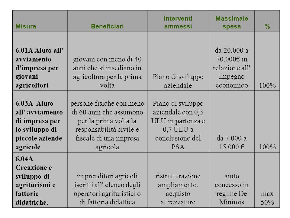 MisuraBeneficiari Interventi ammessi Massimale spesa% 6.01A Aiuto all' avviamento d'impresa per giovani agricoltori giovani con meno di 40 anni che si