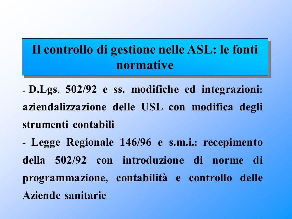 - D.Lgs. 502/92 e ss. modifiche ed integrazioni : aziendalizzazione delle USL con modifica degli strumenti contabili - Legge Regionale 146/96 e s.m.i.