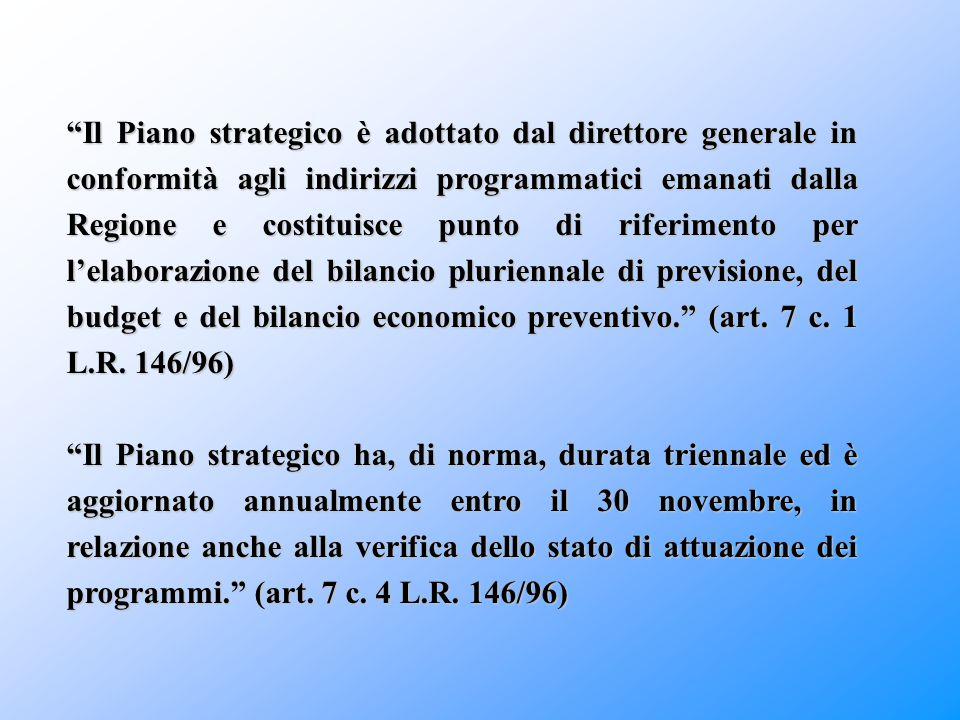 """""""Il Piano strategico è adottato dal direttore generale in conformità agli indirizzi programmatici emanati dalla Regione e costituisce punto di riferim"""
