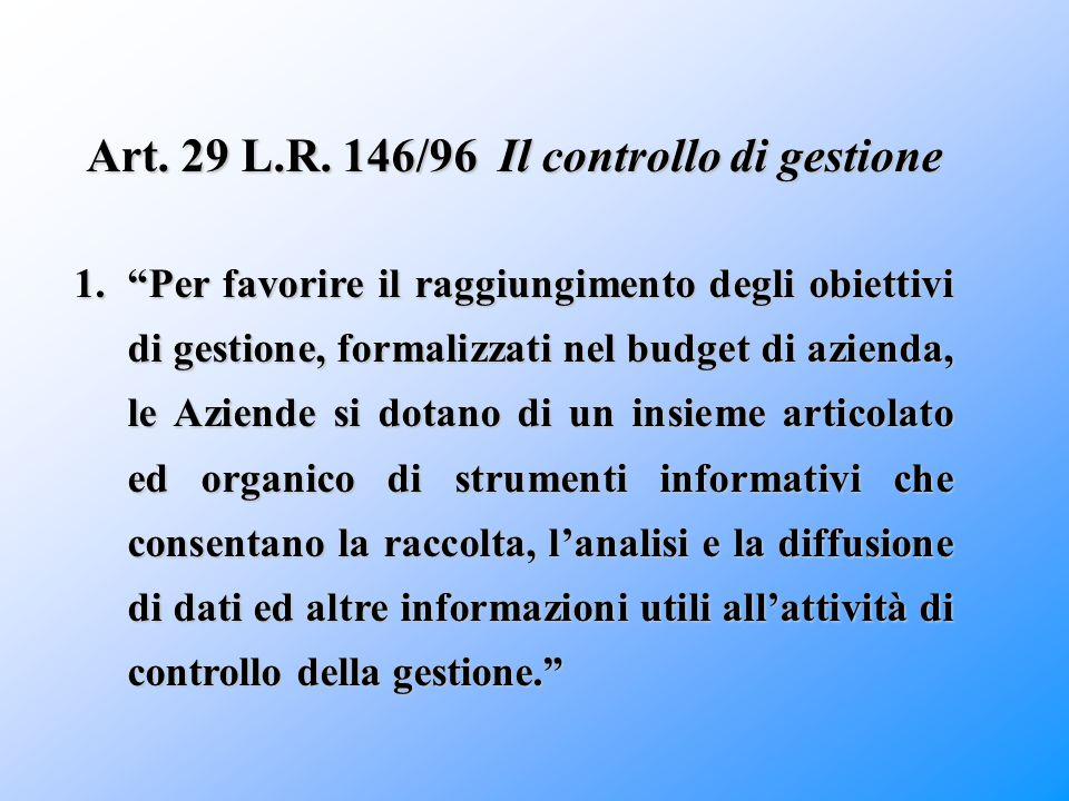 """Art. 29 L.R. 146/96 Il controllo di gestione 1.""""Per favorire il raggiungimento degli obiettivi di gestione, formalizzati nel budget di azienda, le Azi"""