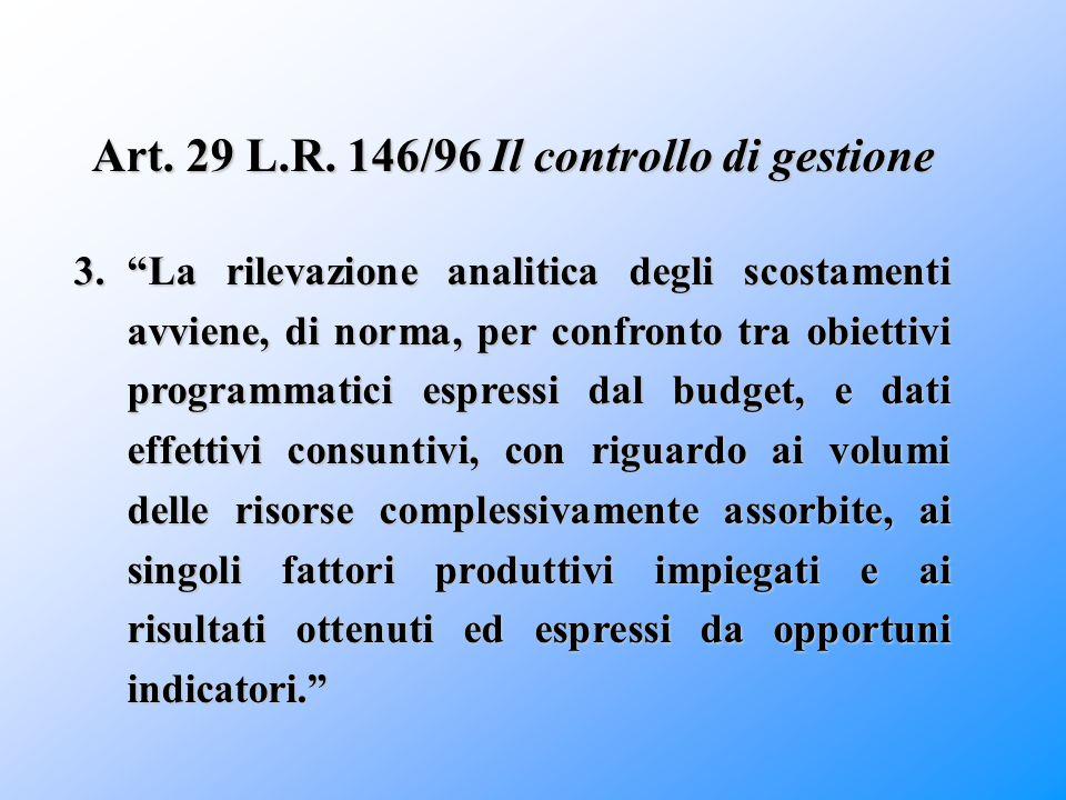 """Art. 29 L.R. 146/96 Il controllo di gestione 3.""""La rilevazione analitica degli scostamenti avviene, di norma, per confronto tra obiettivi programmatic"""
