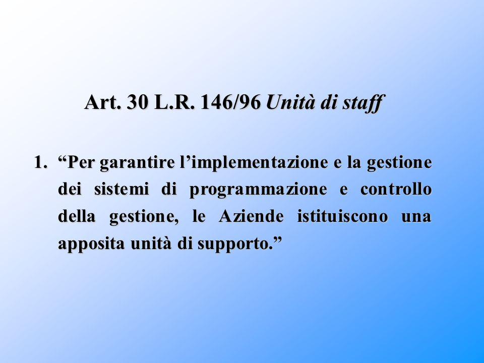 """Art. 30 L.R. 146/96 Unità di staff 1.""""Per garantire l'implementazione e la gestione dei sistemi di programmazione e controllo della gestione, le Azien"""