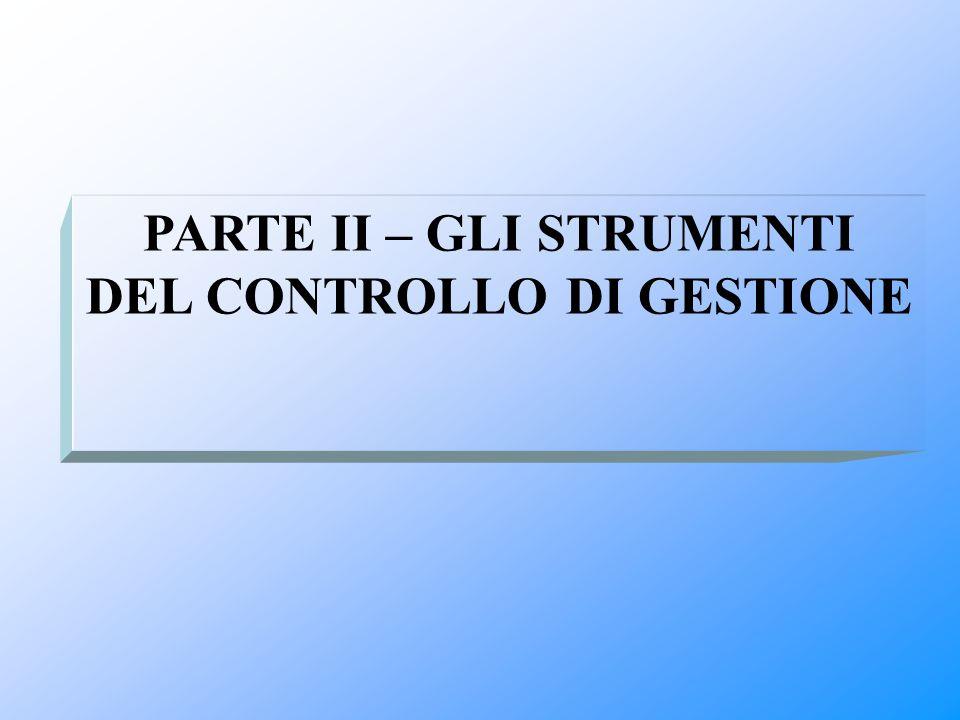 PARTE II – GLI STRUMENTI DEL CONTROLLO DI GESTIONE