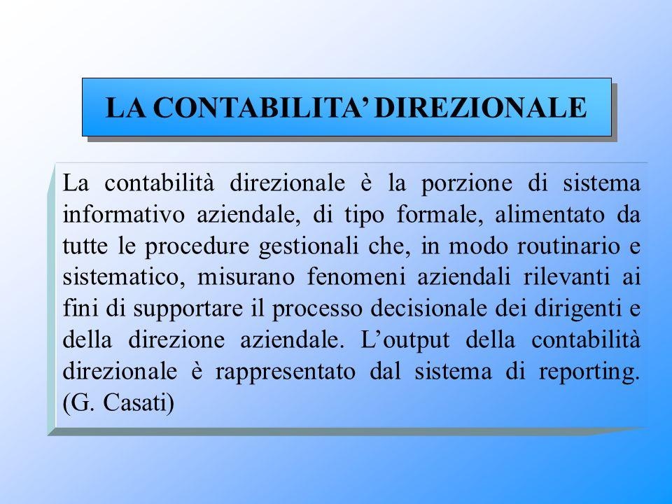 La contabilità direzionale è la porzione di sistema informativo aziendale, di tipo formale, alimentato da tutte le procedure gestionali che, in modo r