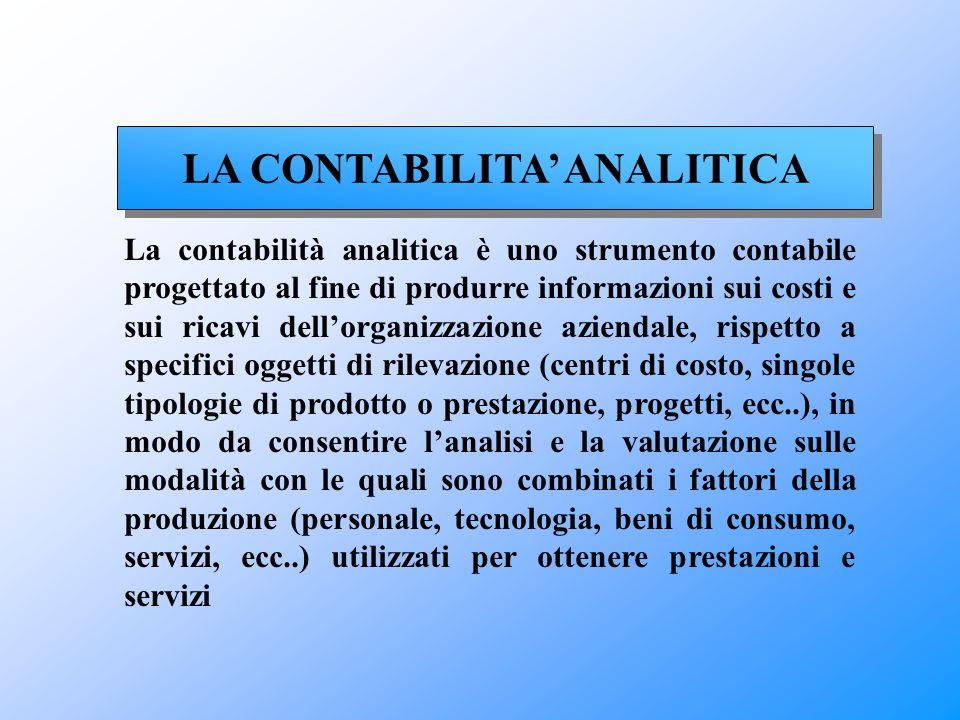 LA CONTABILITA' ANALITICA La contabilità analitica è uno strumento contabile progettato al fine di produrre informazioni sui costi e sui ricavi dell'o
