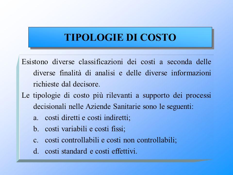 Esistono diverse classificazioni dei costi a seconda delle diverse finalità di analisi e delle diverse informazioni richieste dal decisore. Le tipolog