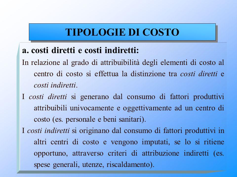 a. costi diretti e costi indiretti: In relazione al grado di attribuibilità degli elementi di costo al centro di costo si effettua la distinzione tra