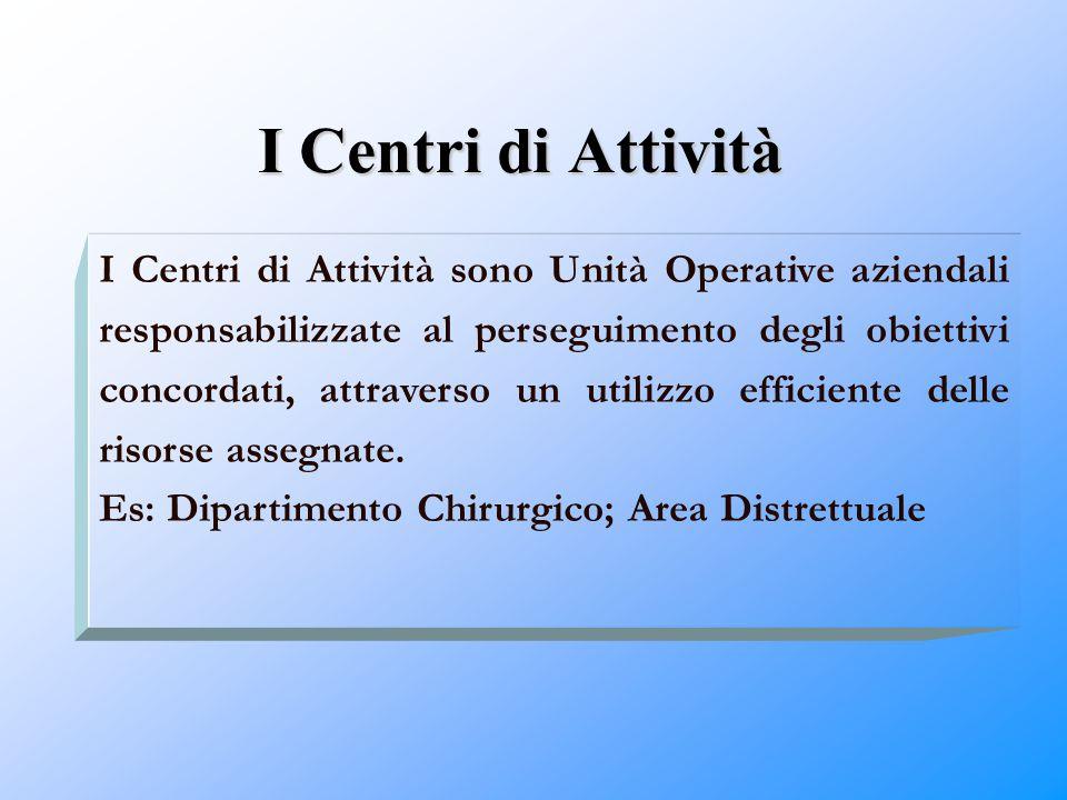 I Centri di Attività I Centri di Attività sono Unità Operative aziendali responsabilizzate al perseguimento degli obiettivi concordati, attraverso un