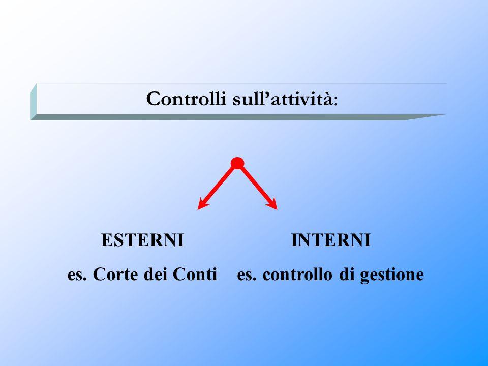 Controlli sull'attività: ESTERNI es. Corte dei Conti INTERNI es. controllo di gestione
