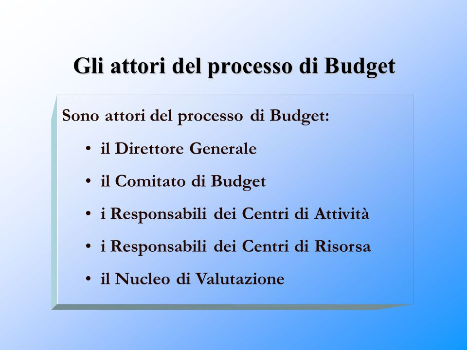 Gli attori del processo di Budget Sono attori del processo di Budget: il Direttore Generale il Comitato di Budget i Responsabili dei Centri di Attivit