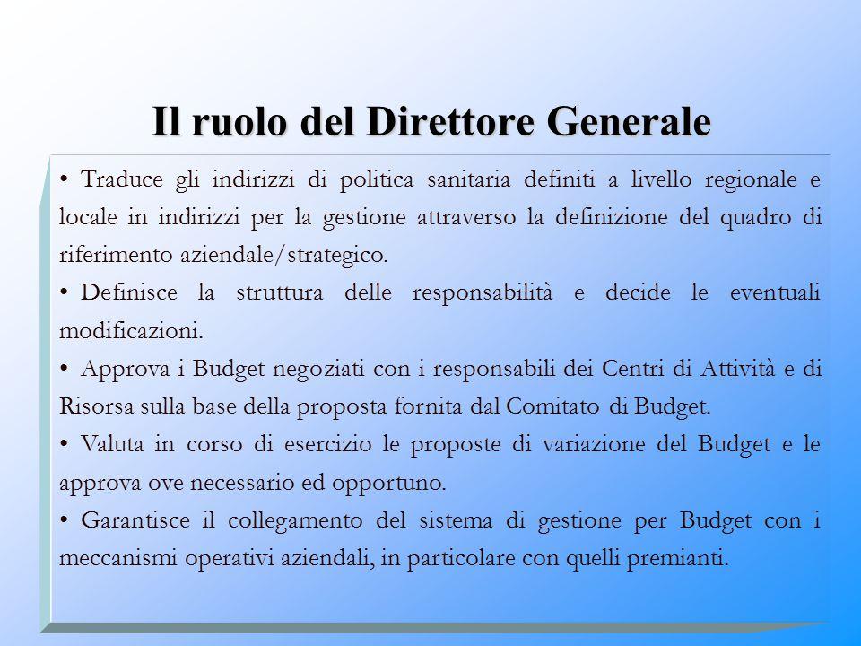 Il ruolo del Direttore Generale Traduce gli indirizzi di politica sanitaria definiti a livello regionale e locale in indirizzi per la gestione attrave